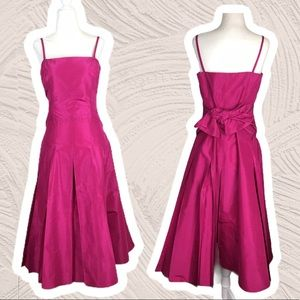 BCBG Hot Pink Strapless Prom Dress with Bow 10